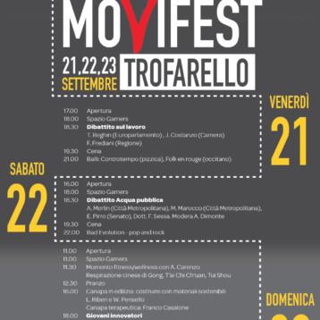 MOVIFEST DI TROFARELLO (TO) 21-23 SETTEMBRE PIAZZALE EUROPA. TRE GIORNI DI DIBATTITI, CONFRONTO, MUSICA E BUONA TAVOLA