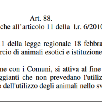 Emendamento Frediani: la Regione definisce in norma il suo impegno a promuovere i circhi senza animali!