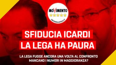 """Gruppo M5S: """"Mozione sfiducia su Icardi, la Lega fugge ancora una volta al confronto. Mancano i numeri in maggioranza?"""""""