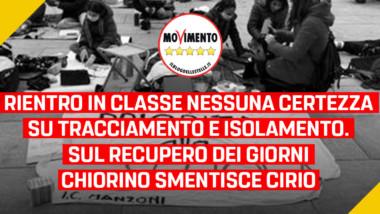 """Scuola, Frediani (M5S): """"Rientro in classe, nessuna certezza su tracciamento ed isolamento. Sul recupero dei giorni Chiorino smentisce Cirio"""""""
