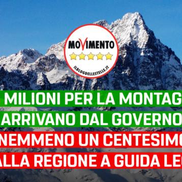 """Gruppo M5S: """"20 milioni per la montagna arrivano dal governo, nemmeno un centesimo dalla regione a guida Lega. Vergogna"""""""